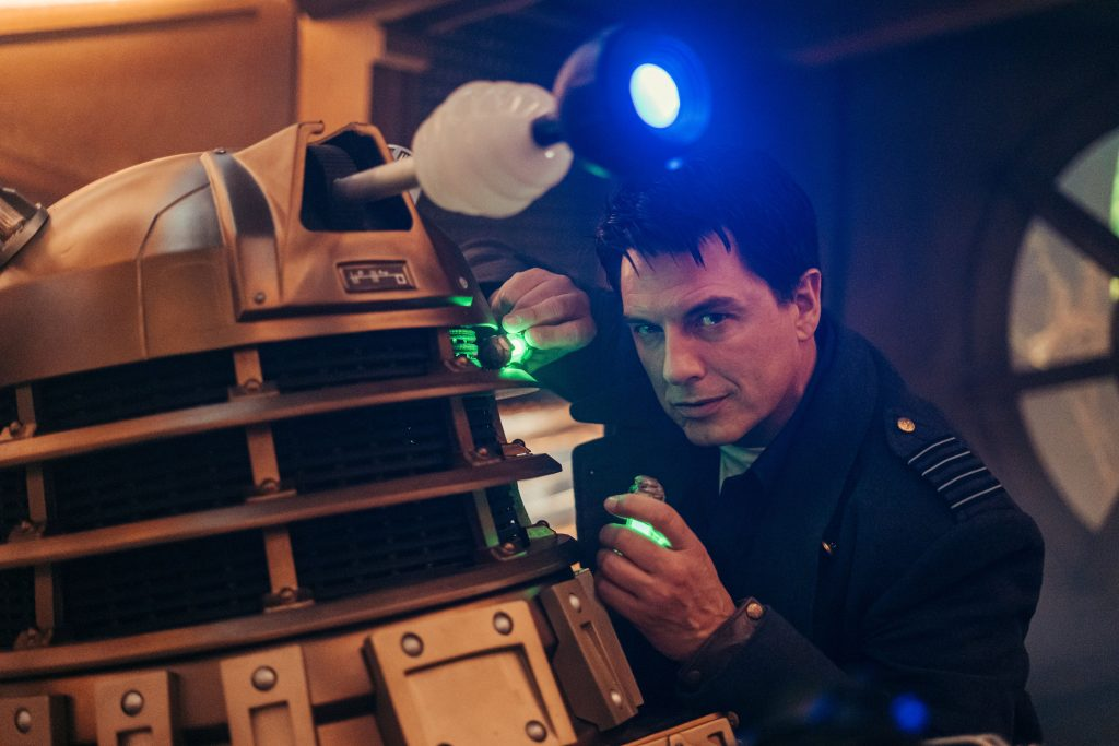 Captain Jack (John Barrowman) returns for Revolution Of The Daleks! (C) BBC - Photographer: James Pardon Captain Jack Harkness Doctor Who